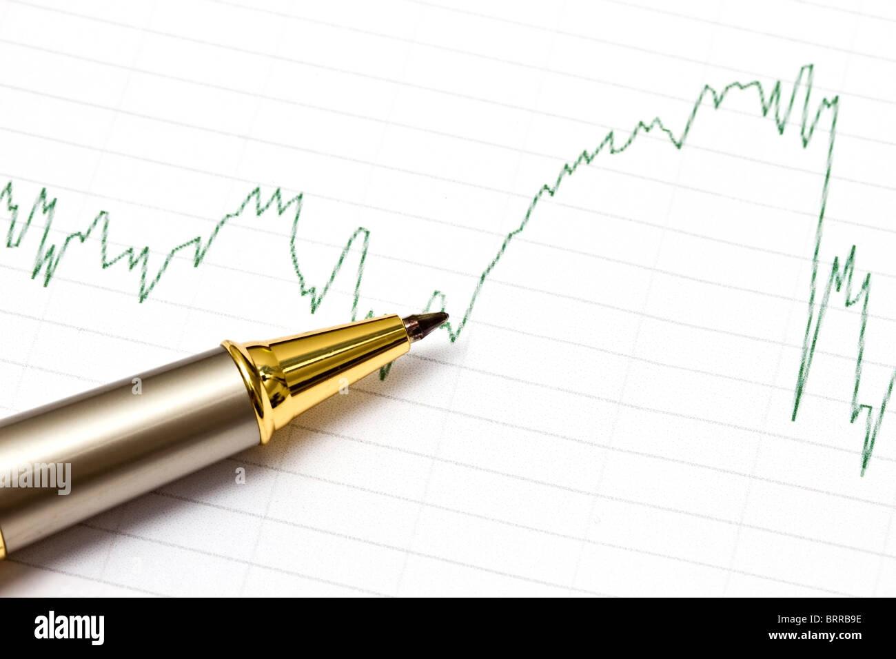 Sfondo del grafico di business e una penna Immagini Stock