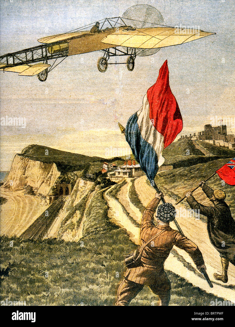 LOUIS BLERIOT (1872-1936) vola sua XI tra le scogliere di Dover dopo il primo cross-channel volo, 25 luglio 1909. Foto Stock