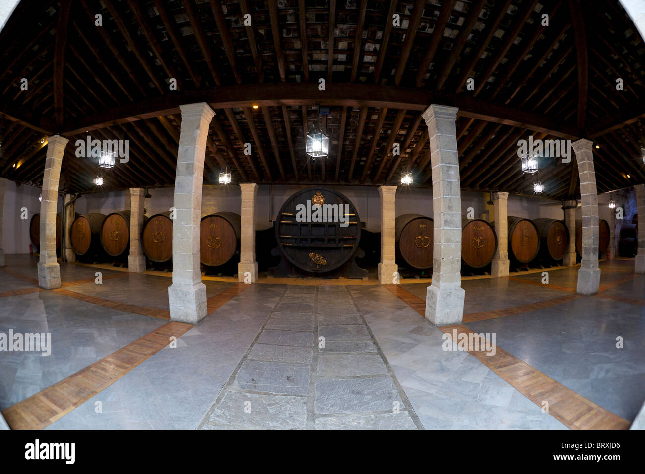 Botti di Sherry in Gonzalez Byass, Jerez. Foto Stock