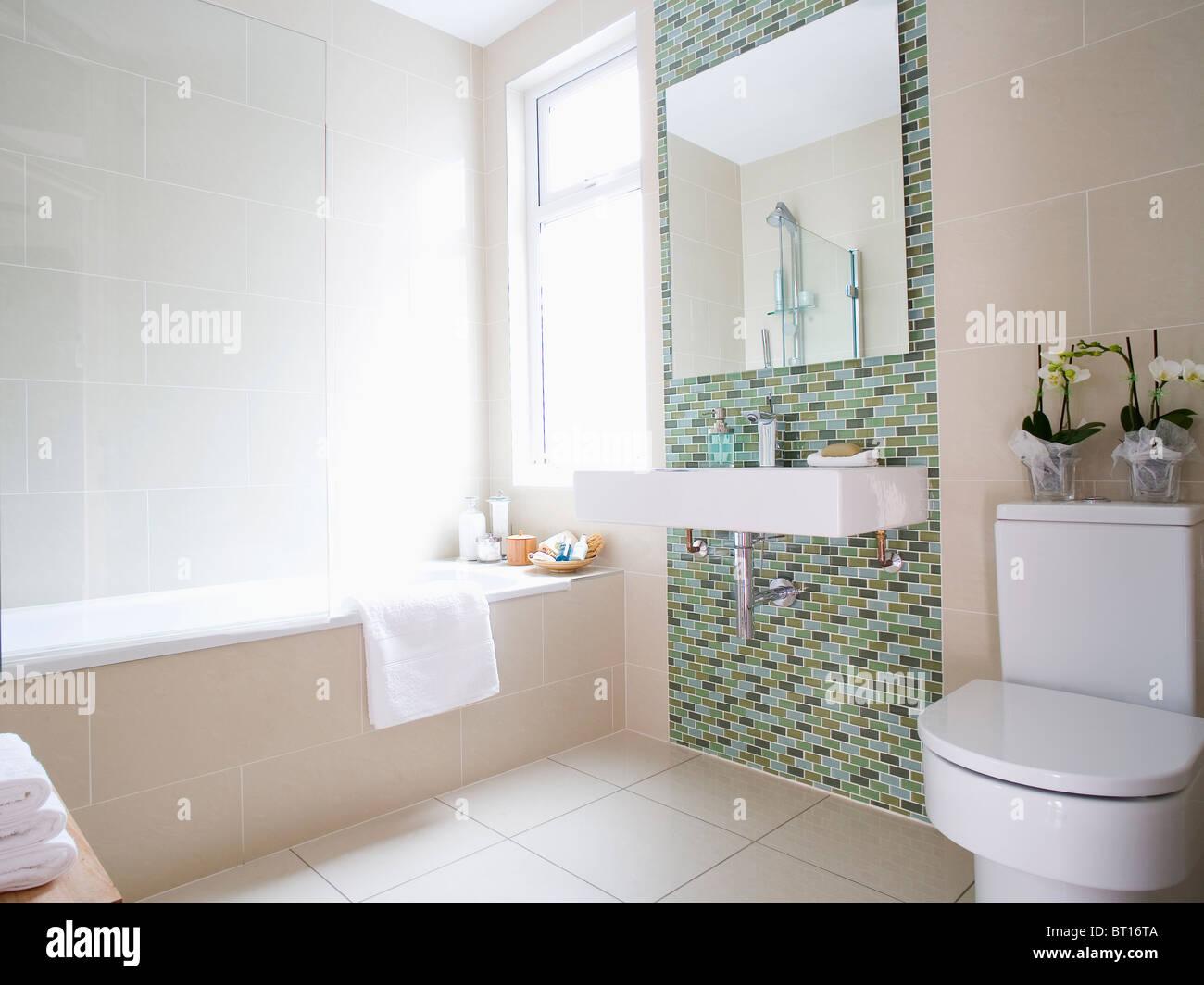 Rivestimento Bagno Mosaico Verde : Specchio e bianco grande bacino rettangolare sul verde a mosaico