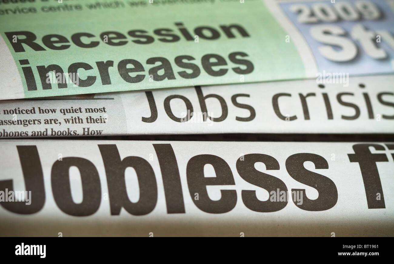 Titoli di giornale circa situazioni di crisi occupazionale Immagini Stock