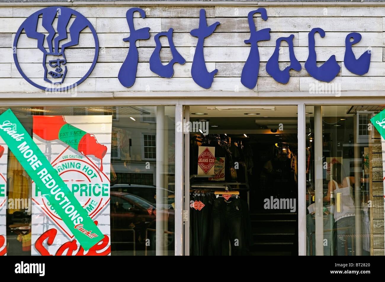 Faccia grassa negozio di abbigliamento, Wantage, UK. Immagini Stock