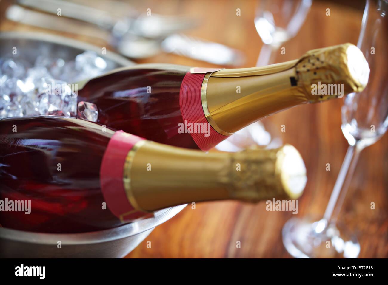 Champagne su ghiaccio Immagini Stock