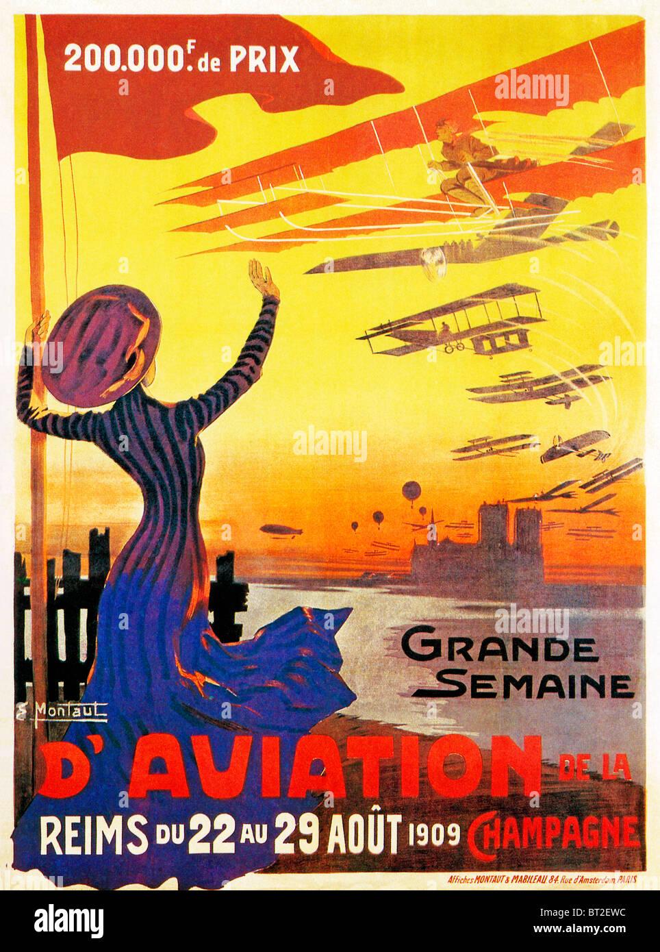 Grande Semaine dAviation, Reims, 1909 poster per le gare di aria nella regione di Champagne di Francia Immagini Stock