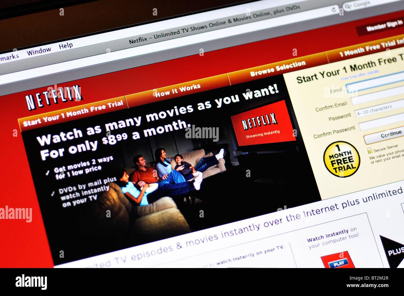 Sito Web di Netflix Immagini Stock