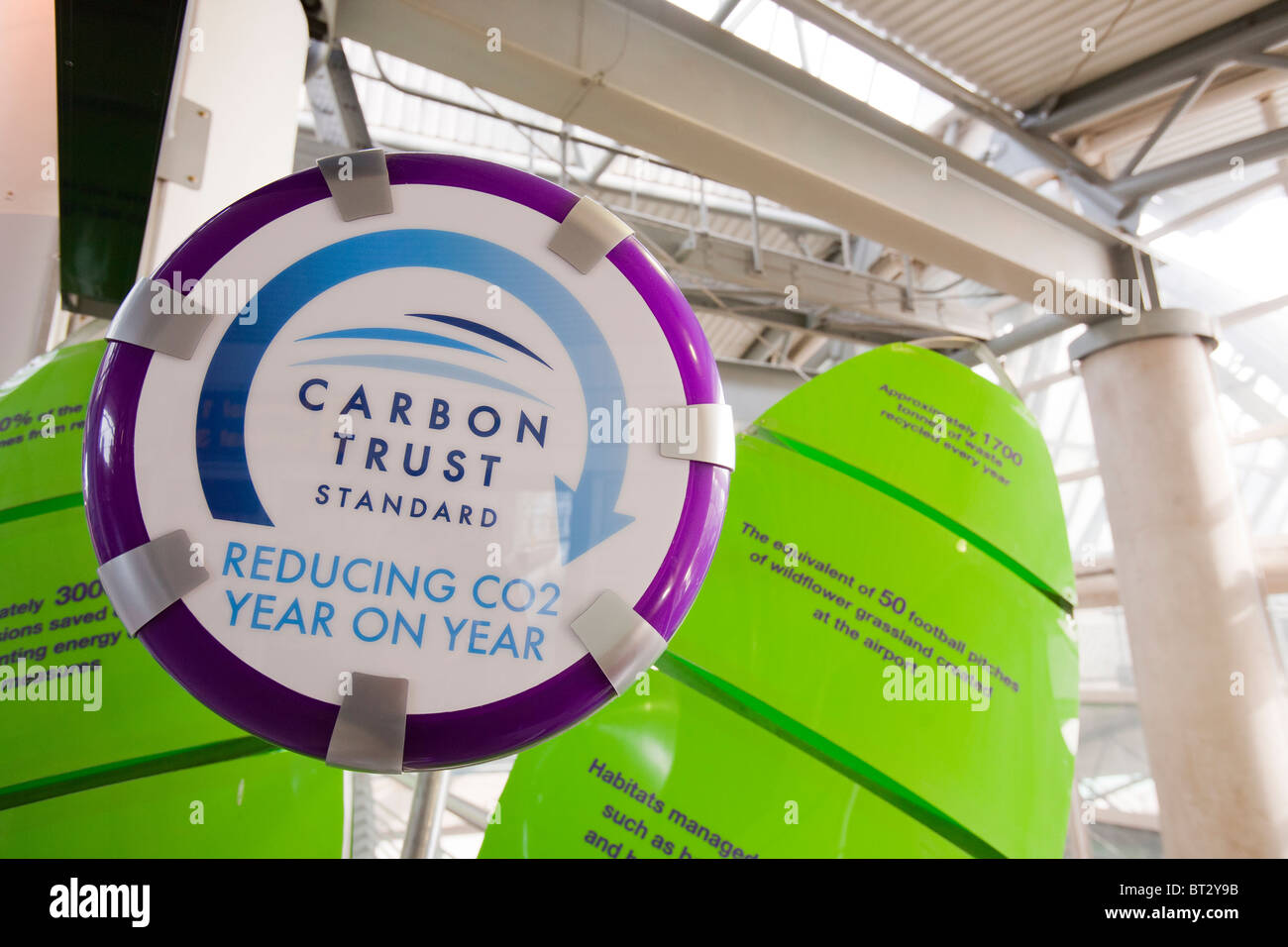 La Carbon Trust standard, il display all'aeroporto di Manchester, delineando come stanno riducendo le emissioni Immagini Stock