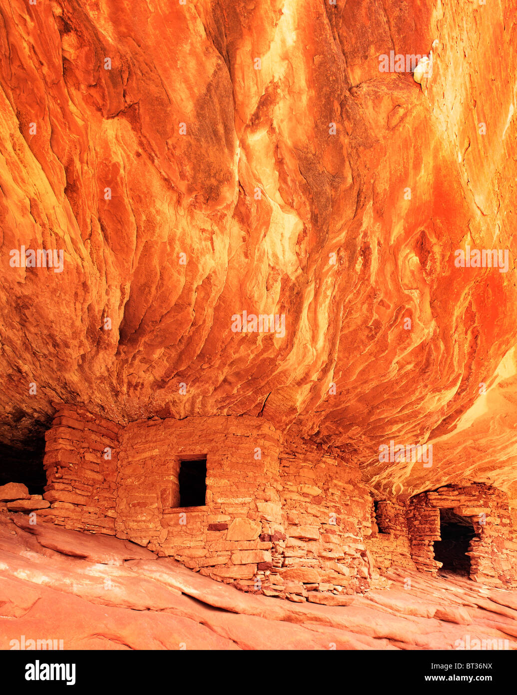 """Flaming soffitto rovina"", antiche rovine Anasazi a Cedar Mesa, Utah, Stati Uniti d'America Immagini Stock"