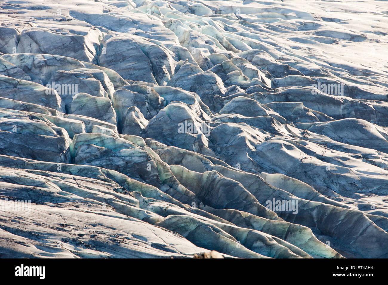 Il ghiacciaio Skaftafellsjokull. Come tutti i'Islanda i ghiacciai si sta ritirando rapidamente a causa di cambiamenti Immagini Stock