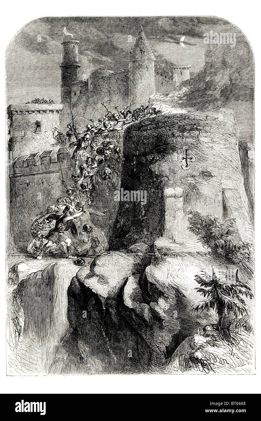 Sorpresa del castello di Edimburgo quasi preso prima giacobita supporto ascendente di James Stuart vecchio pretendente Immagini Stock