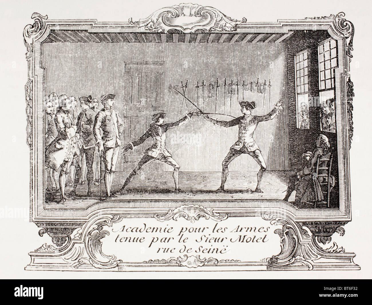 Un accademia di scherma nel XVIII secolo a Parigi. Immagini Stock