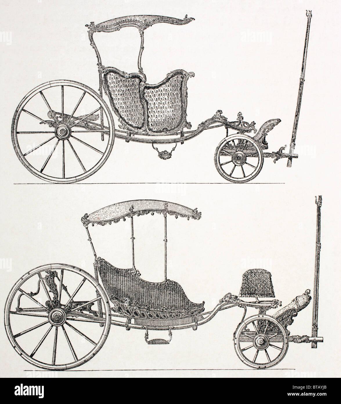 Francese del xviii secolo carrelli. Immagini Stock