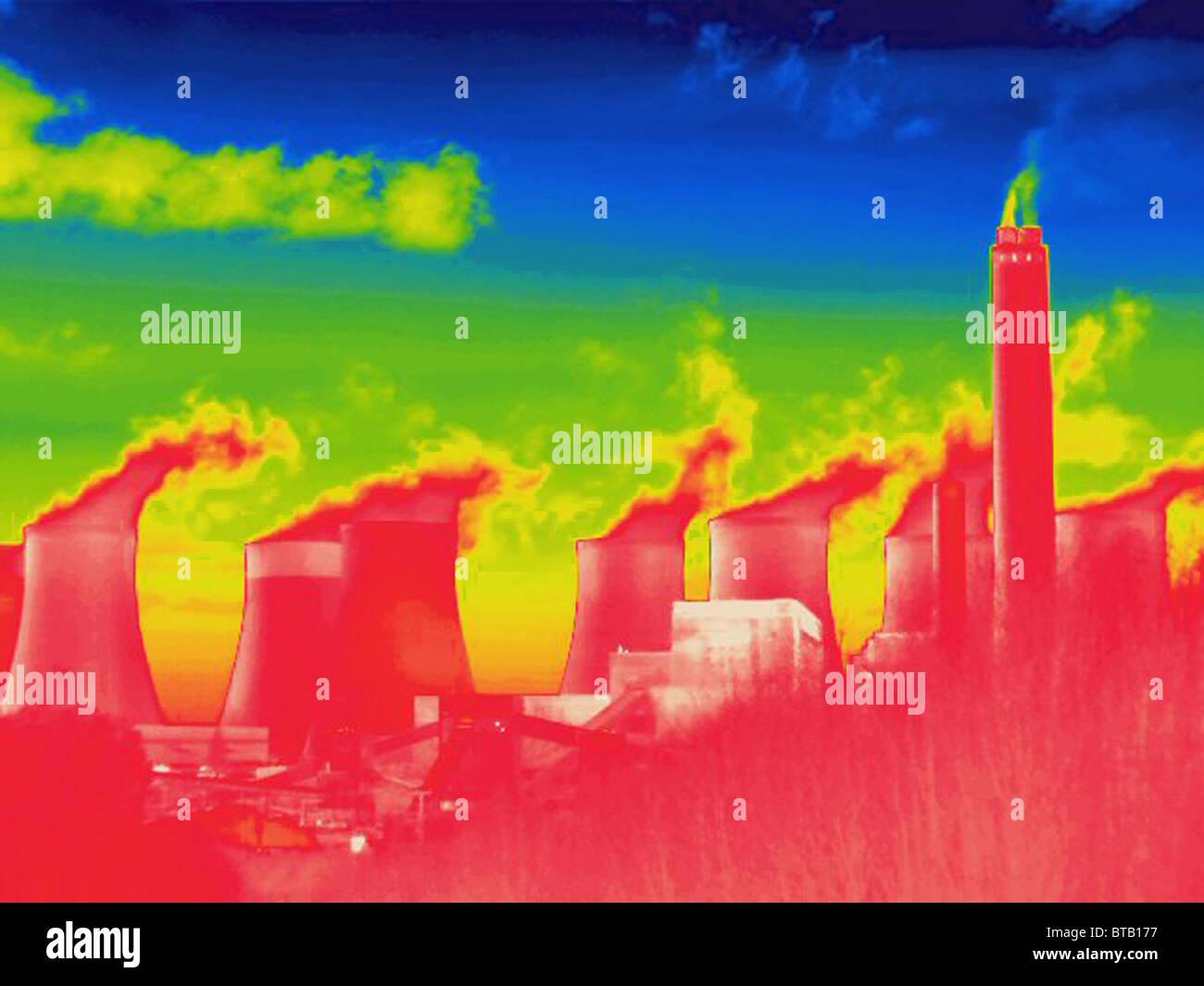 Immagine termica di una stazione di alimentazione Immagini Stock