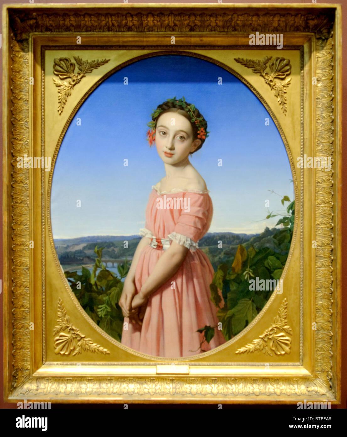Faustine Léo (1832-1865), 1842, da Henri Lehmann Immagini Stock