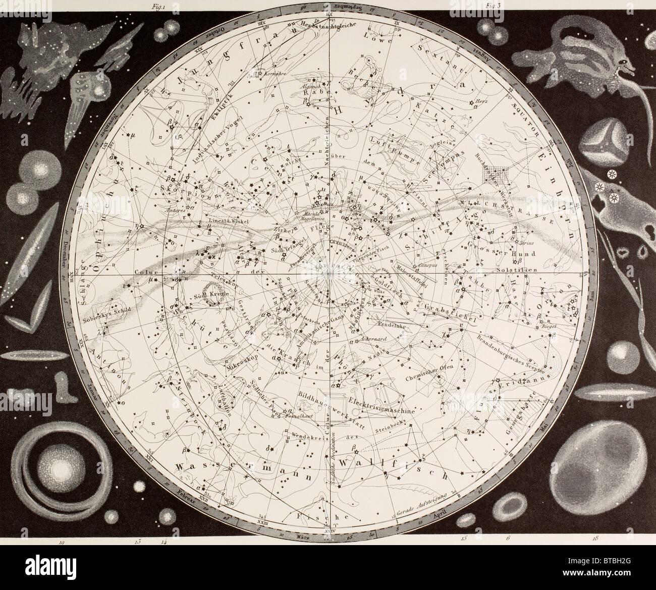Xix secolo la mappa del cielo del sud. Immagini Stock
