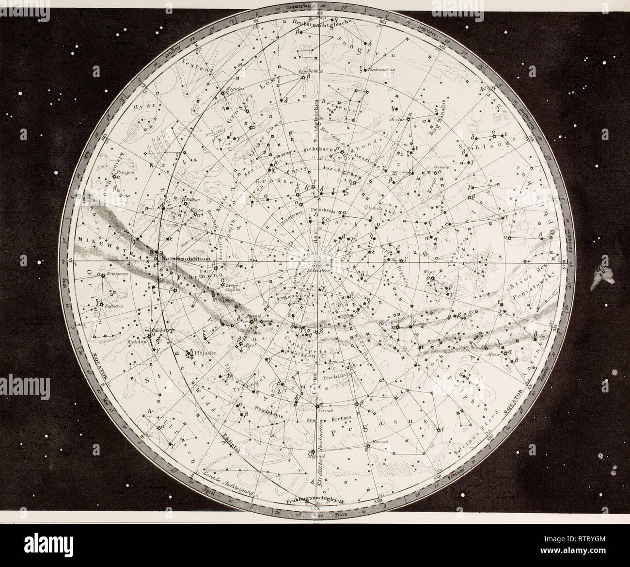 Xix secolo mappa del Nord dei cieli. Immagini Stock