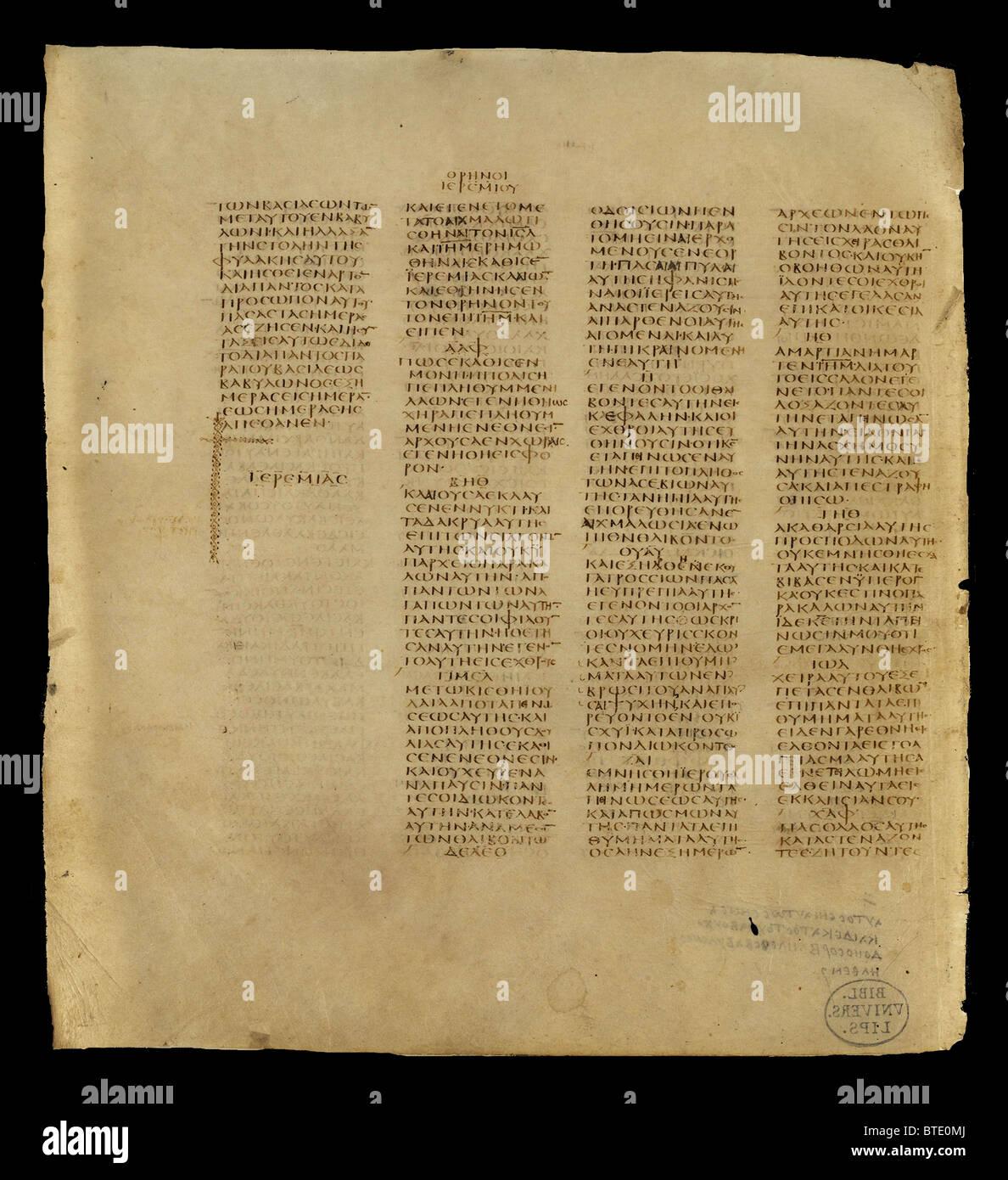 5396. Codex Sinaiticus è un quarto secolo manoscritto della Bibbia greca, scritto tra 330-350. Originariamente Immagini Stock