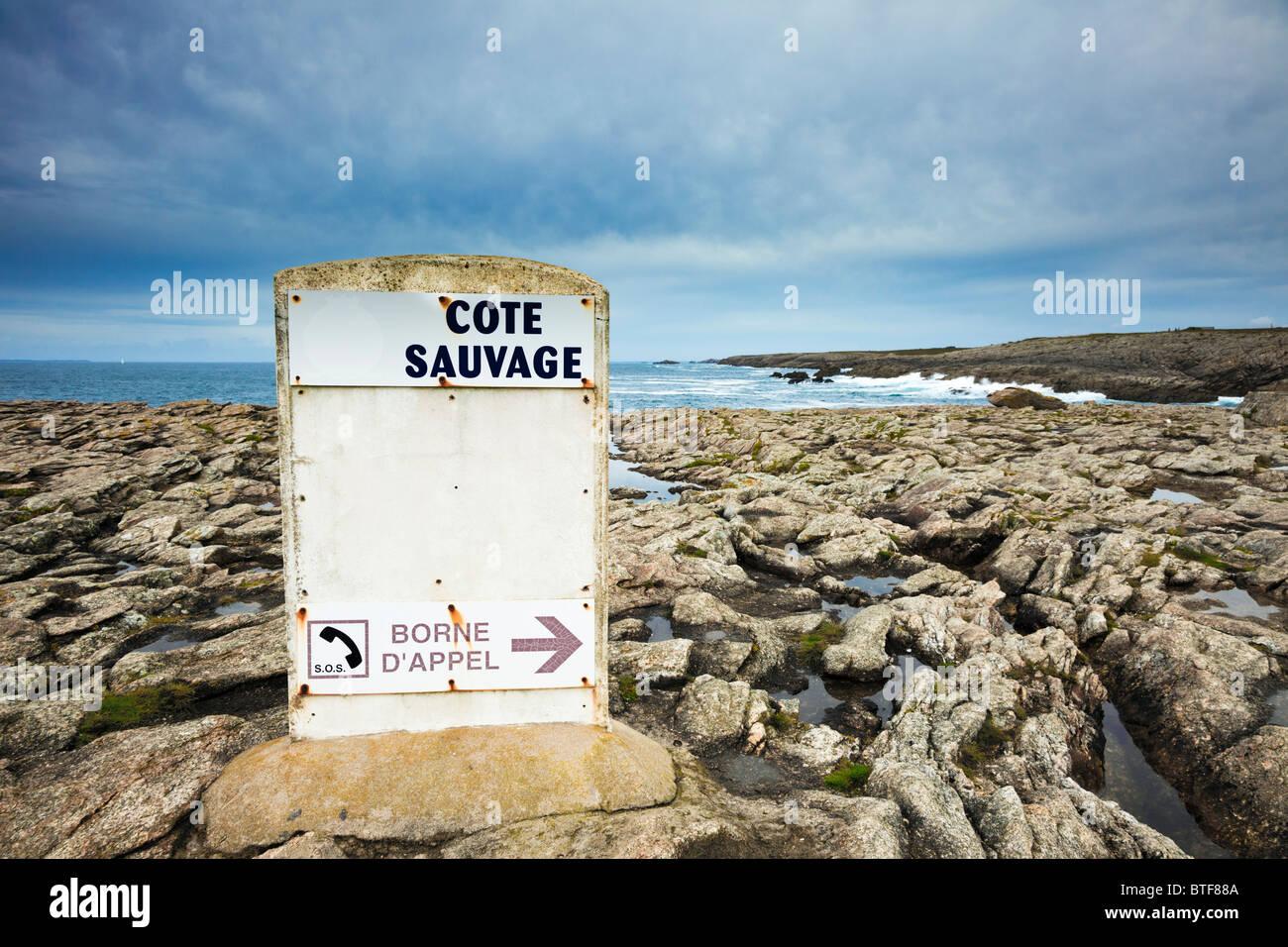 Sicurezza dell'acqua informazioni sulla Cote Sauvage, Morbihan, in Bretagna, in Francia, in Europa Immagini Stock