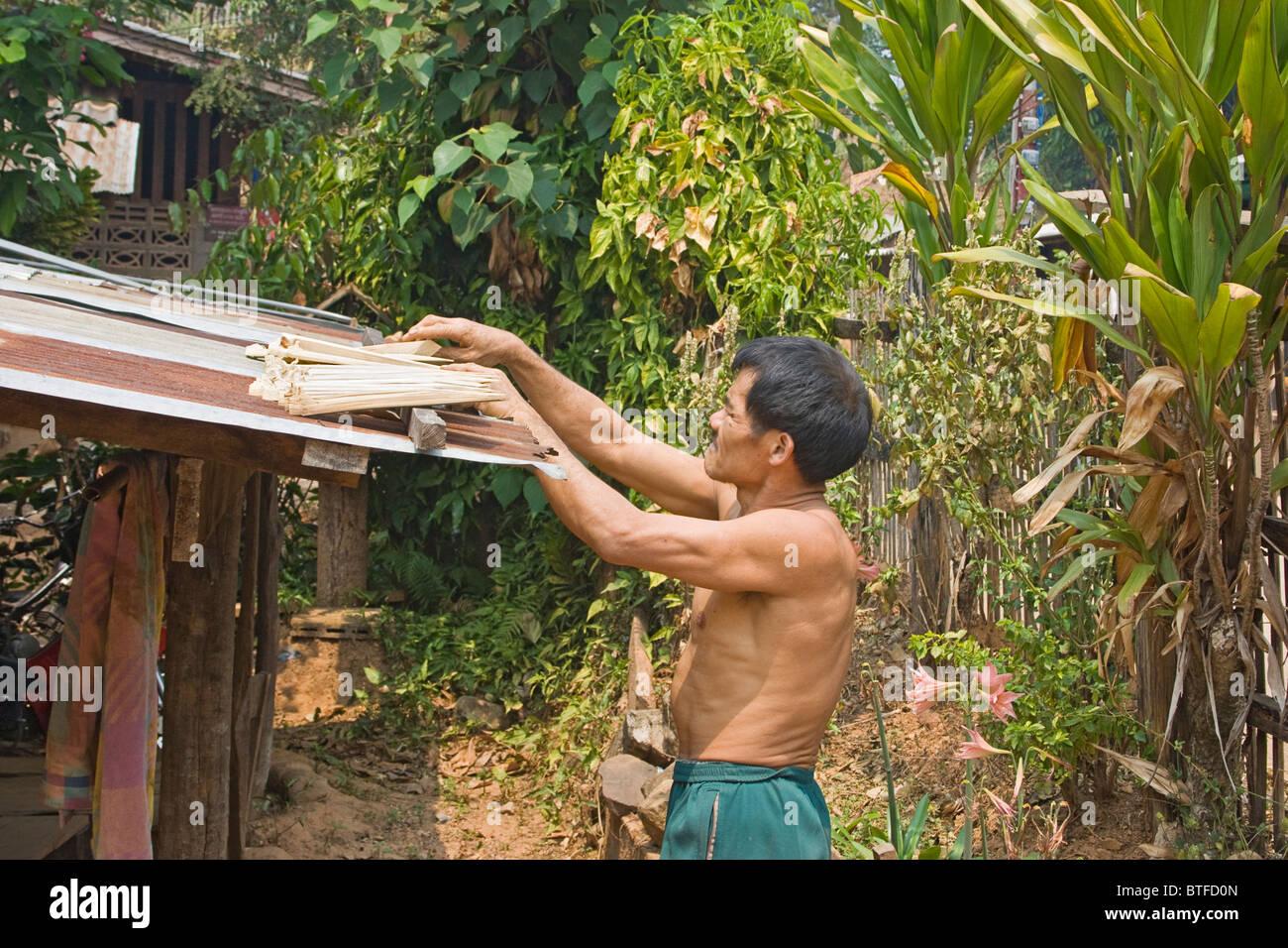 Local Thai man mano con bastone intagliato egli utilizza durante la raccolta del miele. Immagini Stock