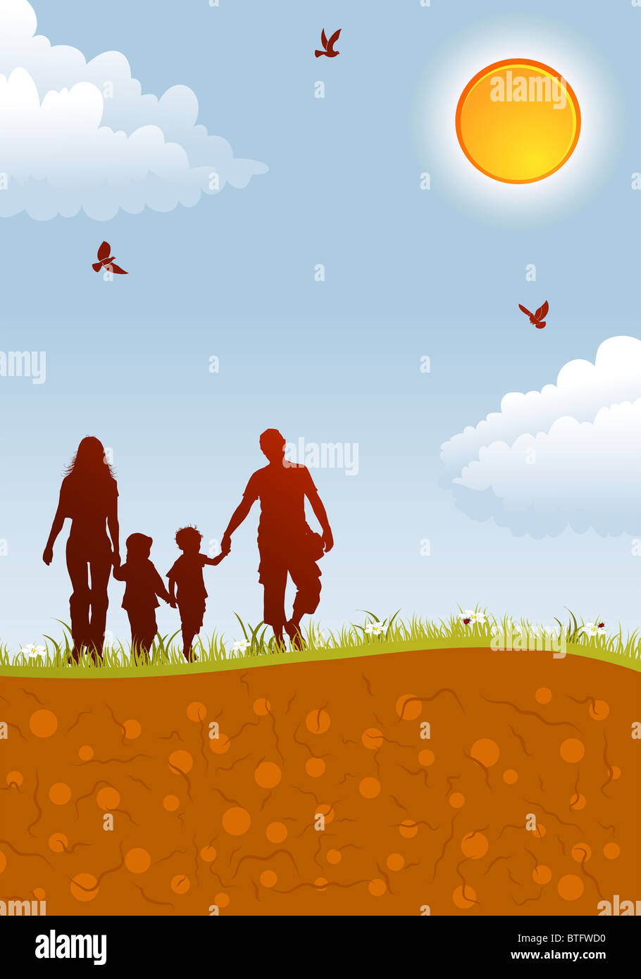 Sagome di famiglia sulla natura dello sfondo con bird, sun e fiore, elemento di design, illustrazione vettoriale Immagini Stock