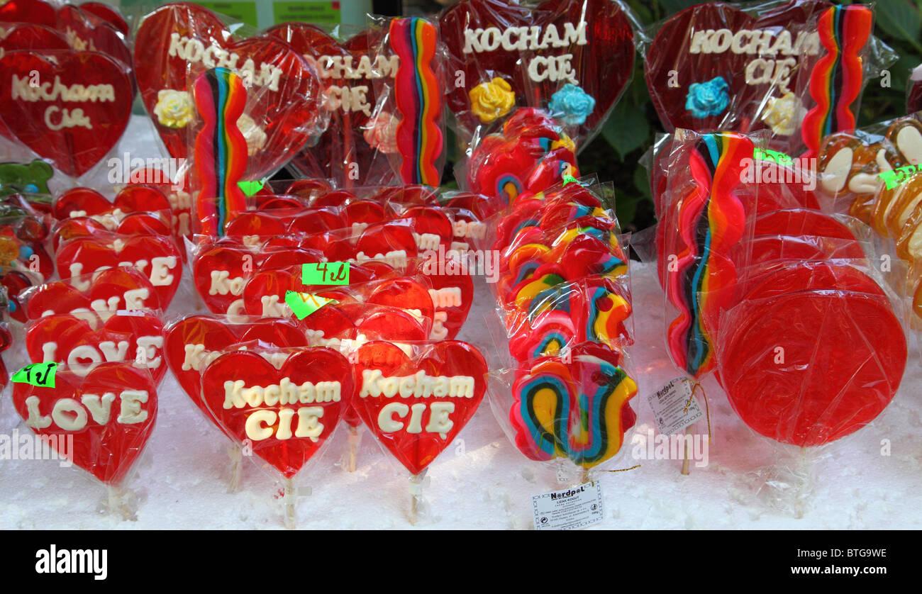Lecca lecca colorati ventose esposti per la vendita Immagini Stock