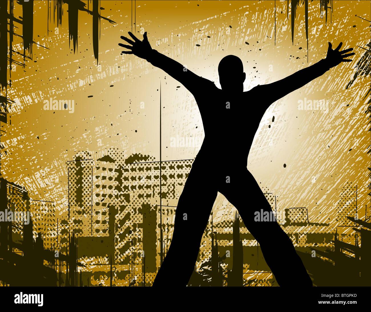 Illustrata la progettazione di un uomo in una città con il grunge Immagini Stock