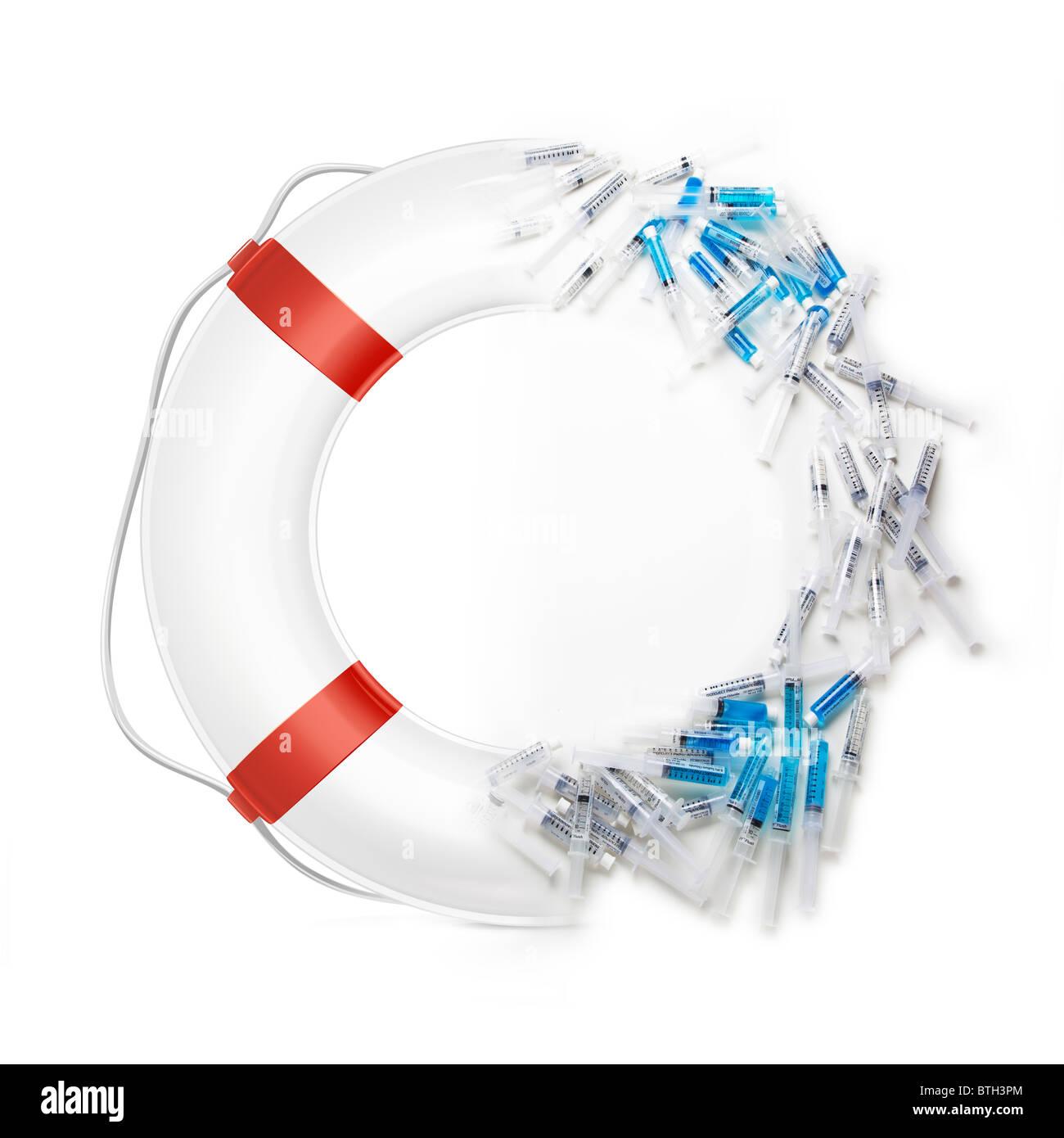 Ciambella salvagente con scatti o siringhe che compongono la metà di esso. Immagini Stock