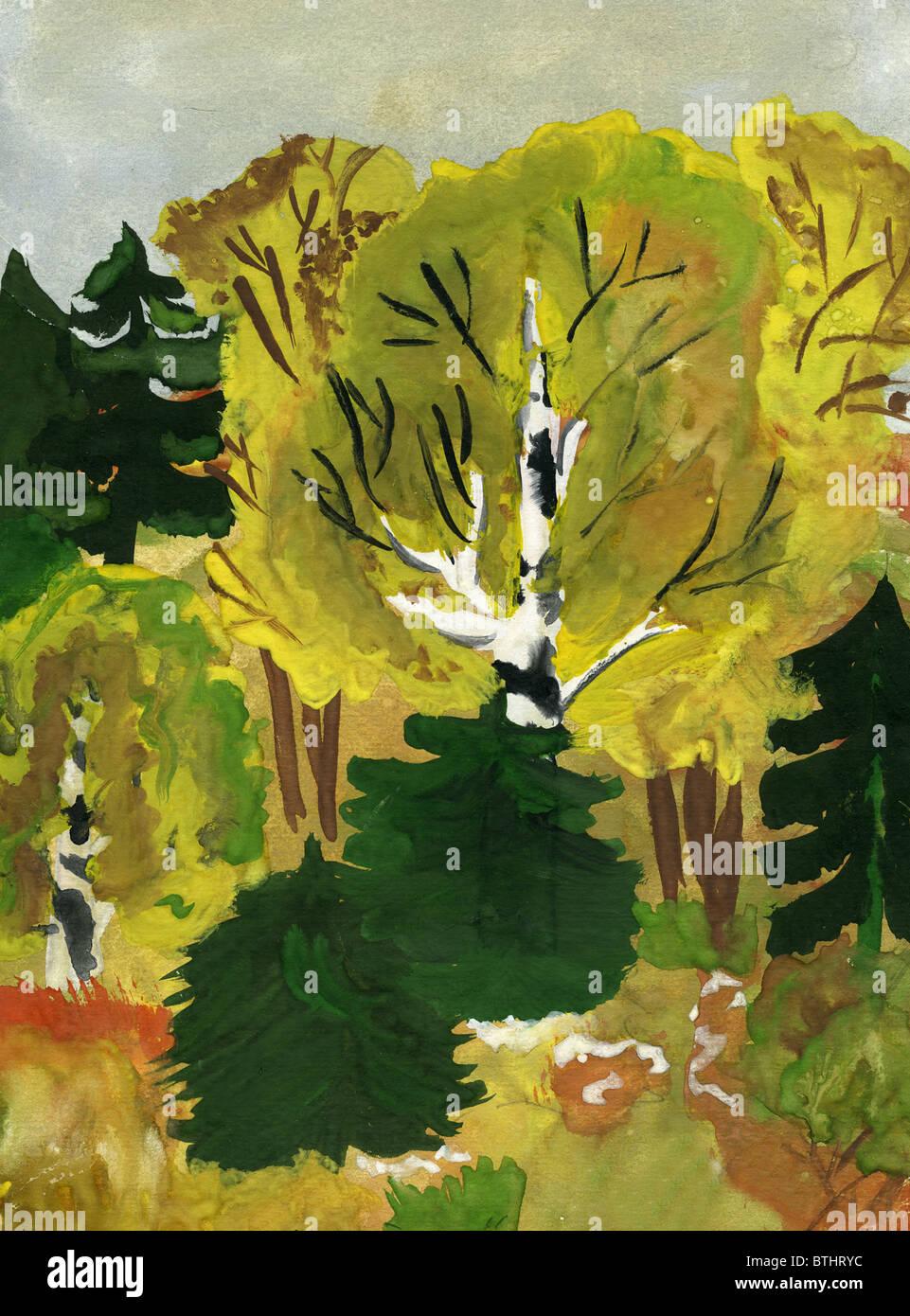 Bambino il disegno della foresta d'autunno. Realizzato da bambino. Immagini Stock