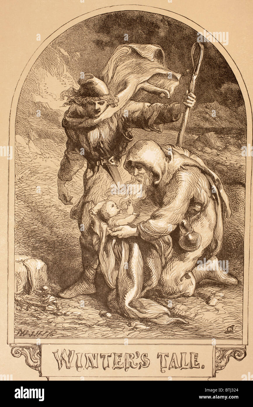 Illustrazione da Sir John Gilbert per l'inverno del racconto di William Shakespeare. Immagini Stock