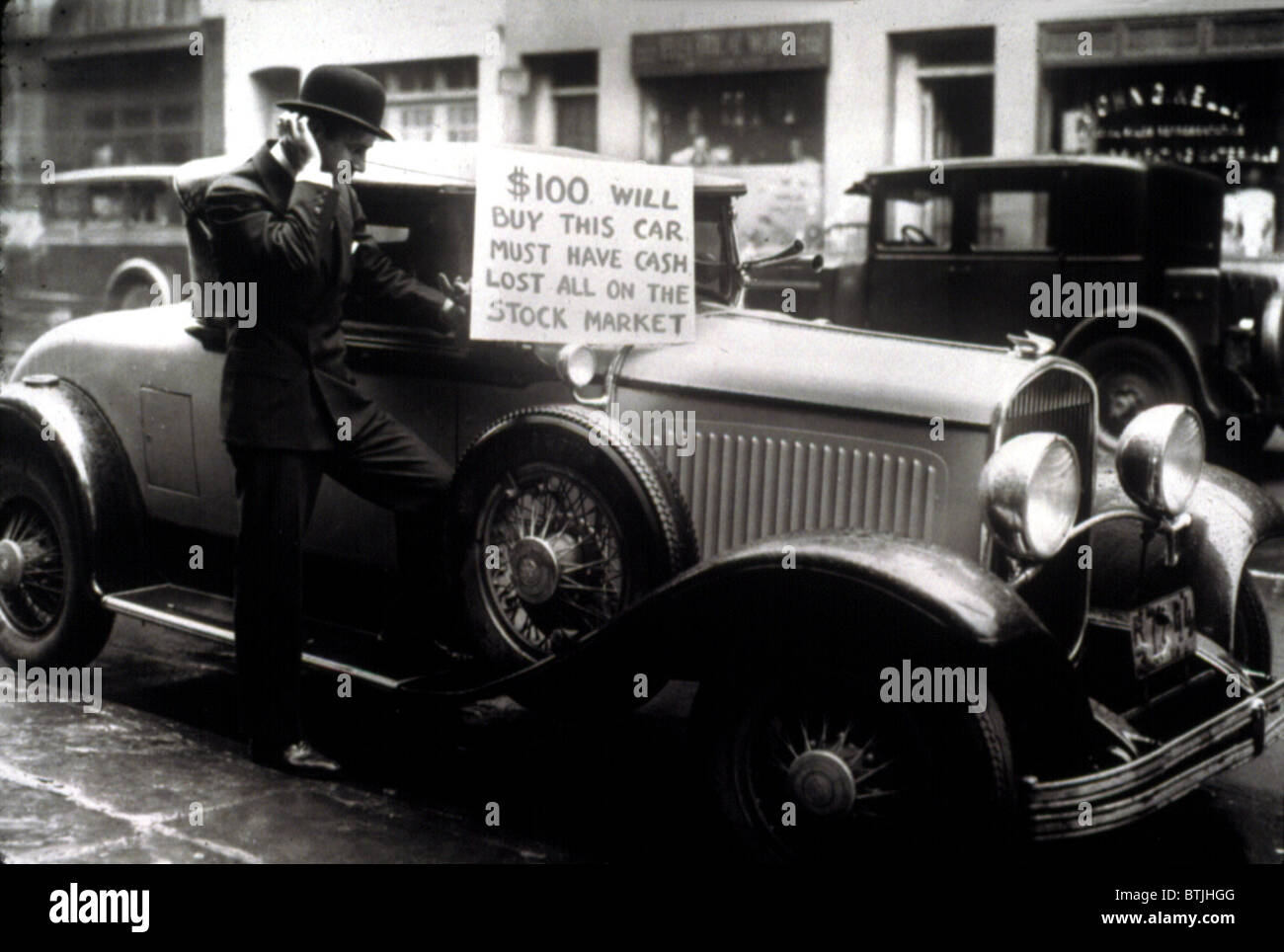 L inizio della Grande Depressione nel 1929. Immagini Stock