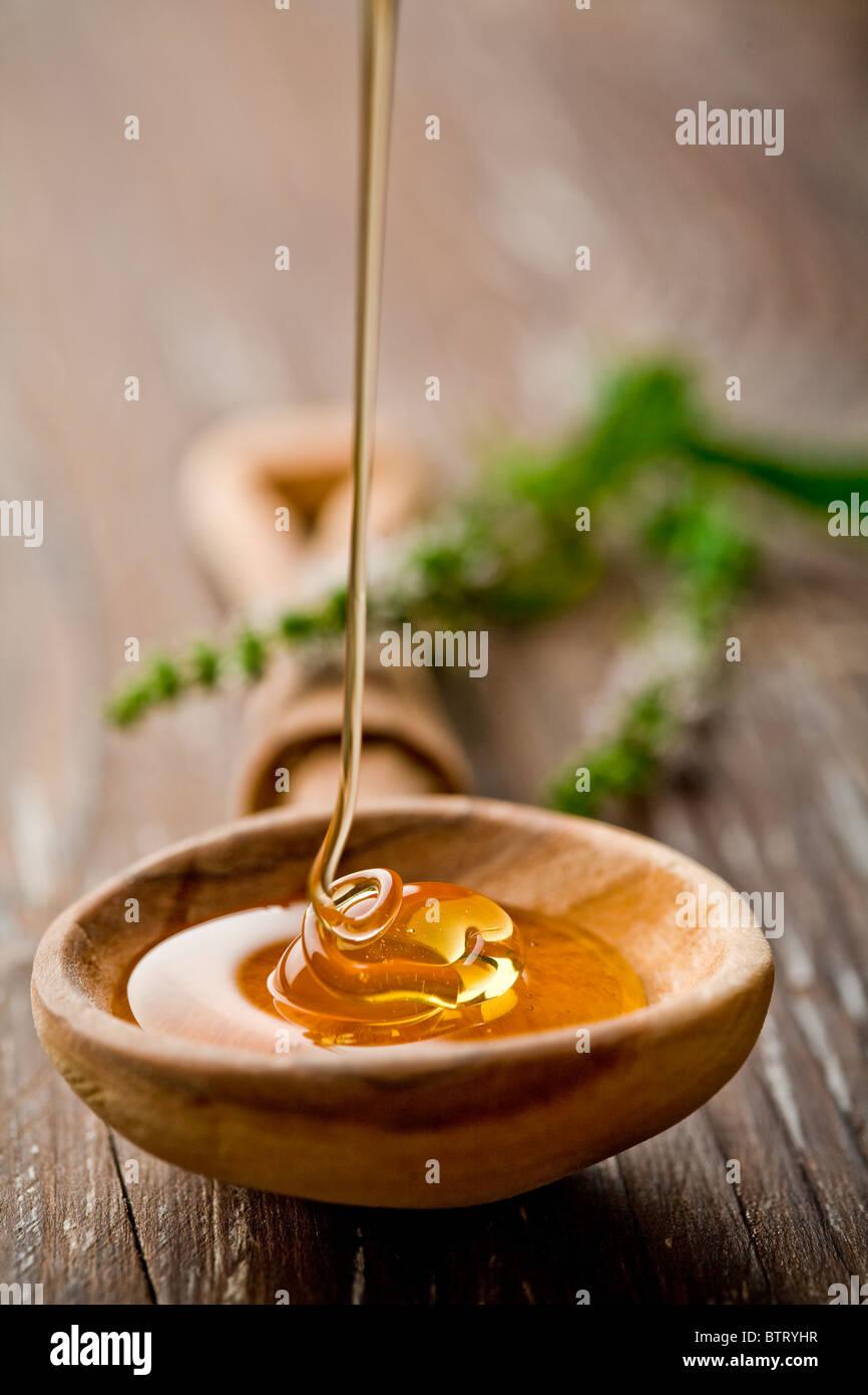 Il cucchiaio di legno con miele selvatico cadere in esso Immagini Stock