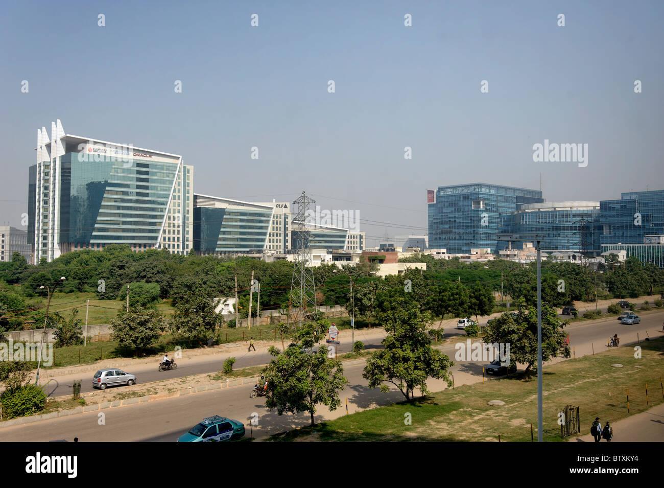 Il paesaggio di Gurgaon, l'area di sviluppo di Haryana, India Immagini Stock