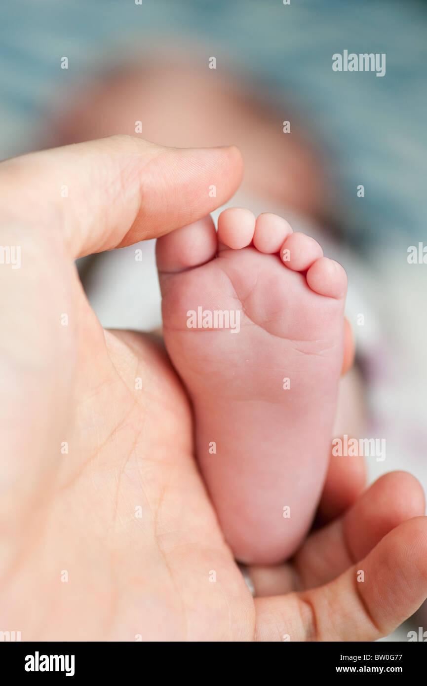 Padre tenendo il piede della bambina Immagini Stock