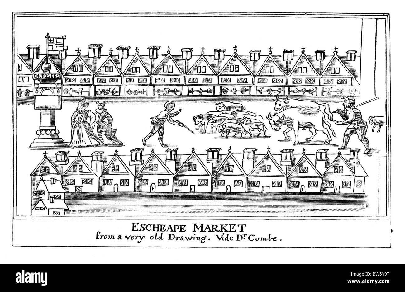 Oriente a buon mercato o mercato Eastcheap, Londra circa 1598; Bianco e Nero illustrazione; Immagini Stock
