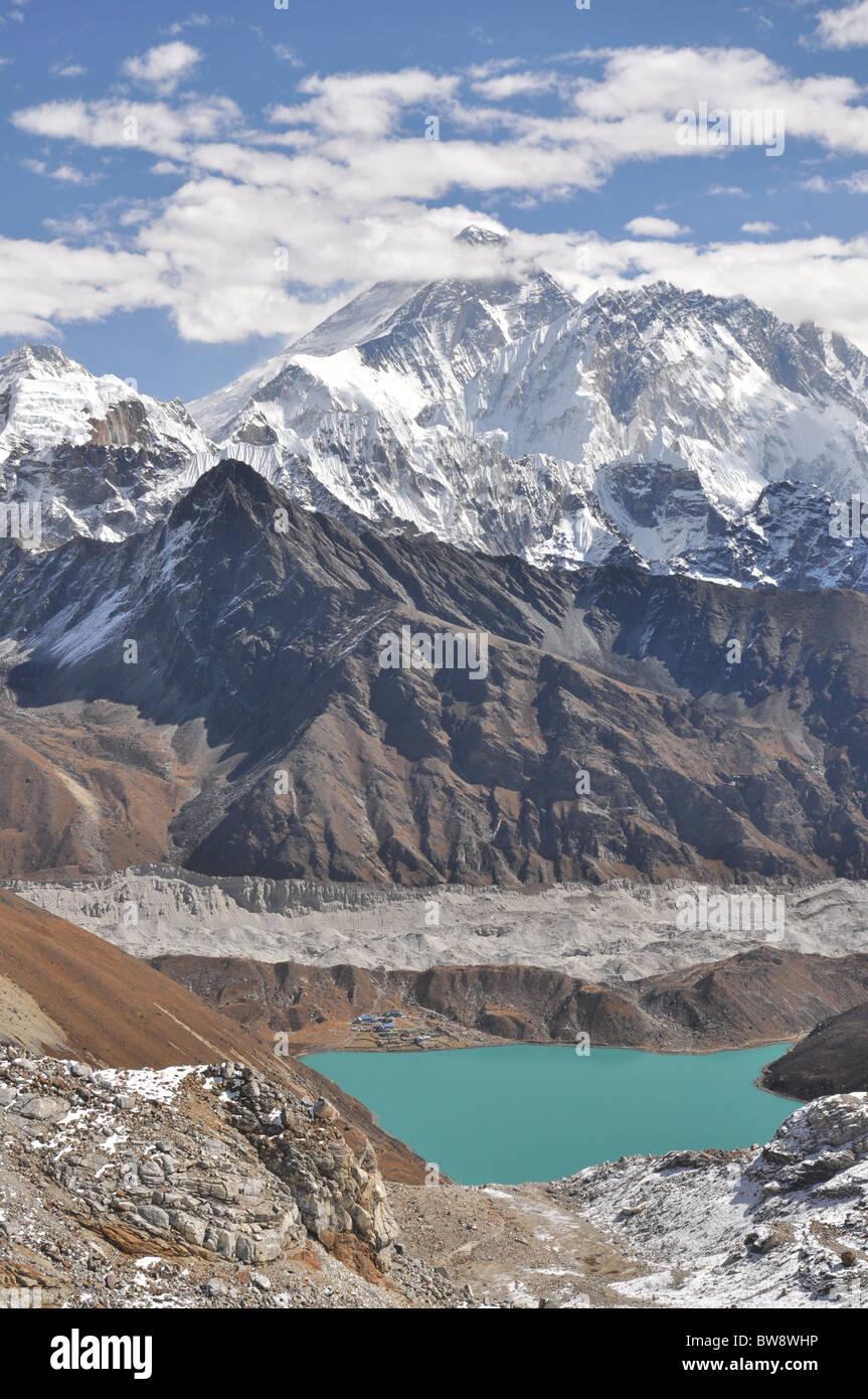 Il monte Everest e Gokyo Lake, Himalaya, Nepal Immagini Stock
