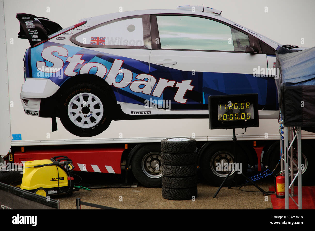 Stobart motor sport truck rally team transport Immagini Stock