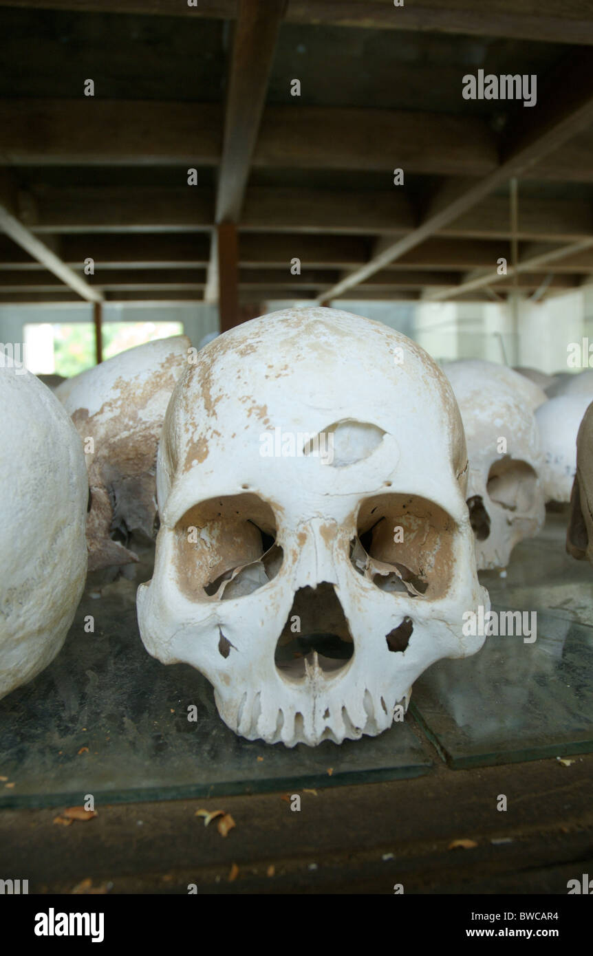 Un cranio, con quello che è probabilmente un foro da un colpo di martello, è in mostra presso il Killing Immagini Stock