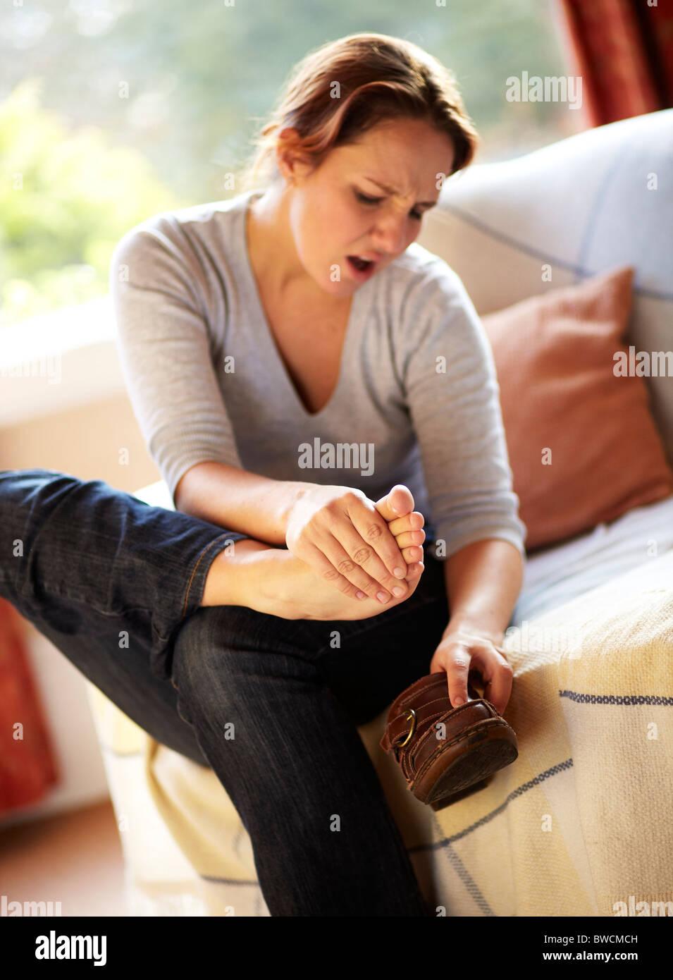 Donna piede massaggio Immagini Stock