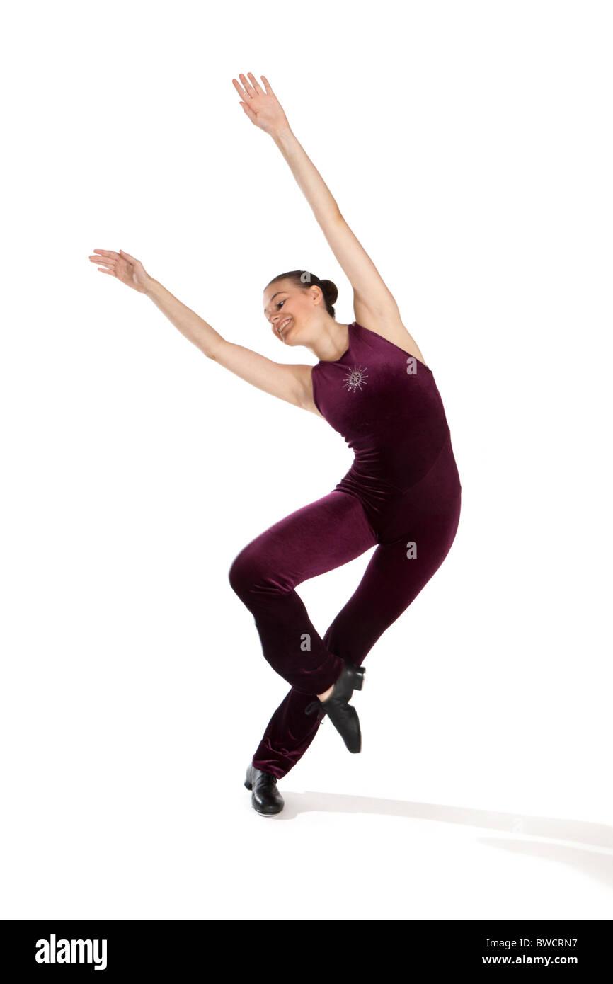 Studio shot della giovane e bella ragazza in tap dancing costume Foto Stock