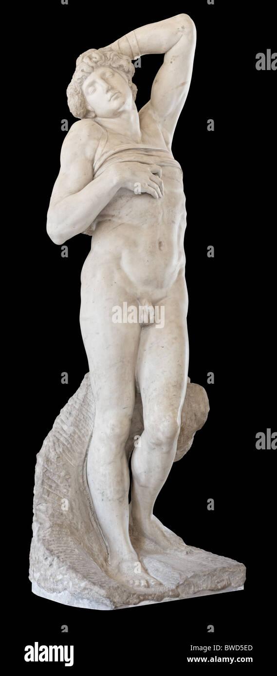 Schiavo Morente la statua di Michelangelo, 1513-1515, al museo del Louvre a Parigi Immagini Stock