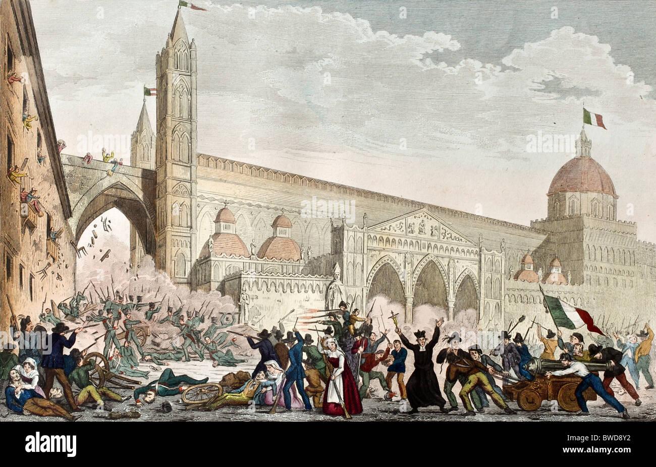 Antica incisione che mostra la battaglia di fronte la Cattedrale di Palermo durante la rivoluzione siciliana di indipendenza nel 1848 Foto stock - Alamy