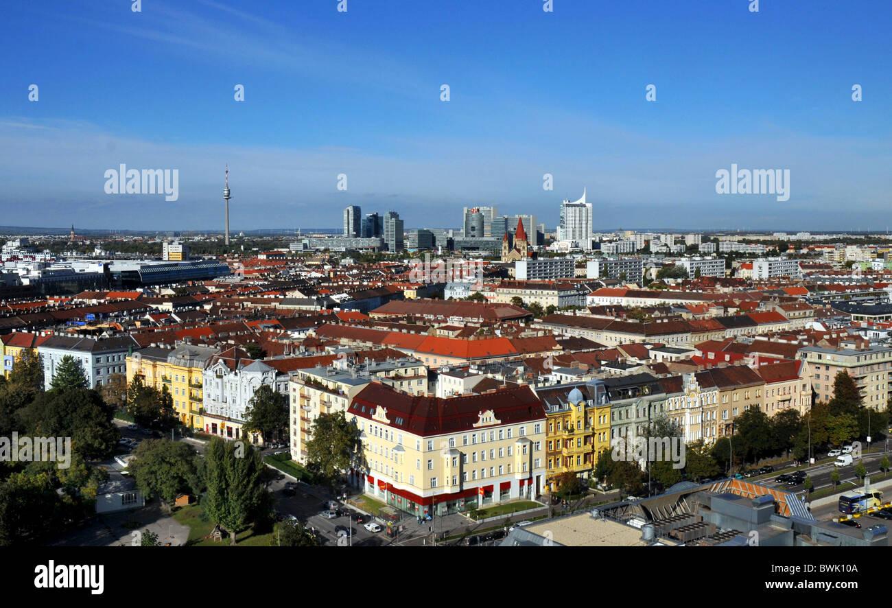 Vienna, Austria, Europa, vista sopra la città capitale di Vienna in Austria Immagini Stock