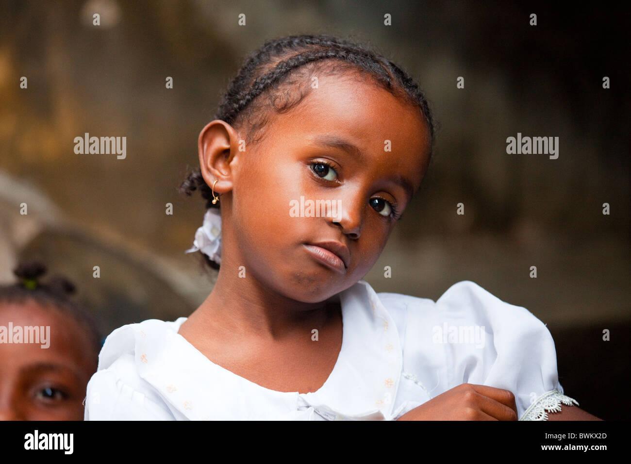 Bambina sull isola di Lamu, Kenya Immagini Stock