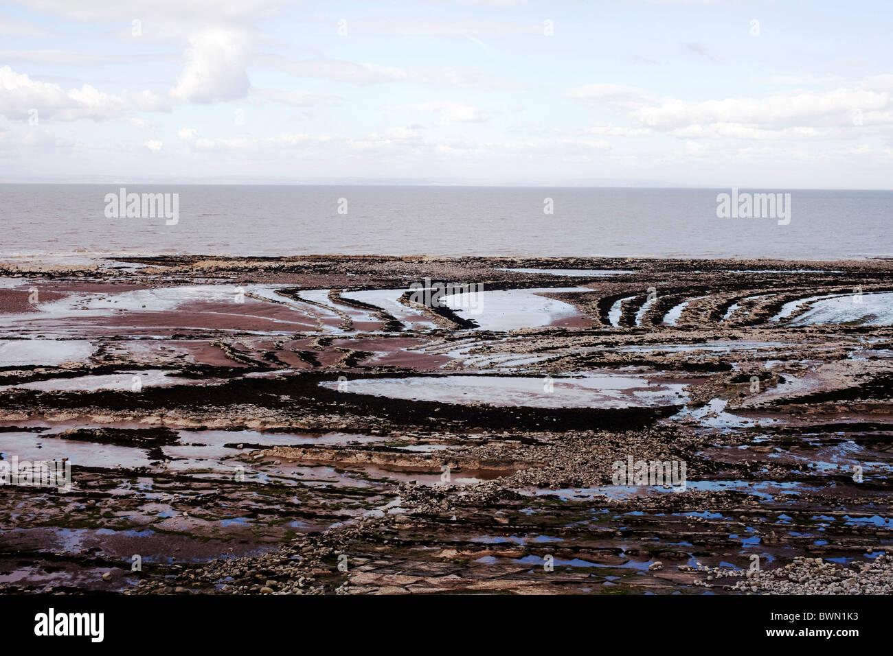Lilstock a Kilve litorale è un SSSi designato di straordinaria importanza per geologi e collezionisti di fossili. Immagini Stock