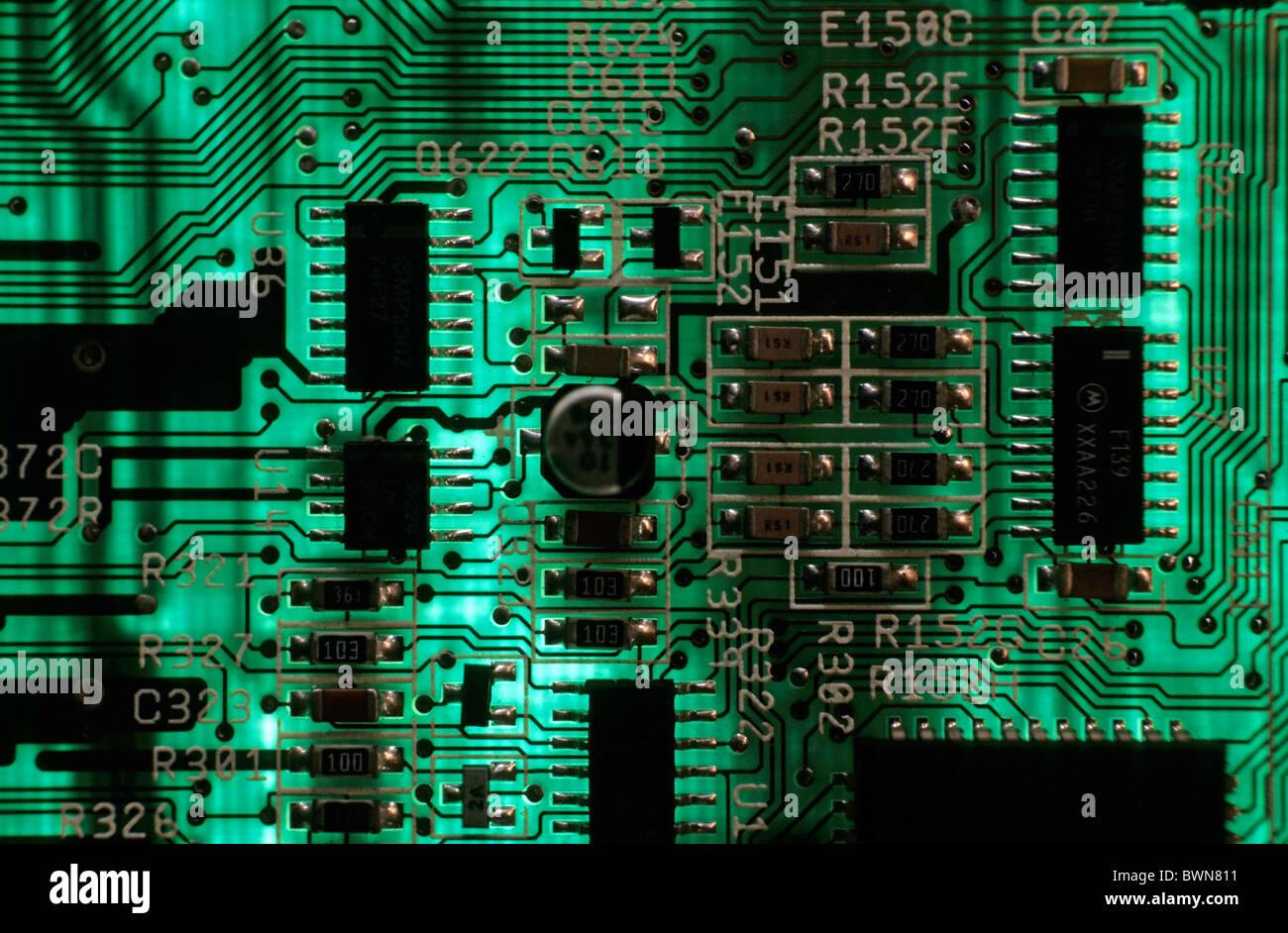Scheda a circuito integrato da un computer. Immagini Stock