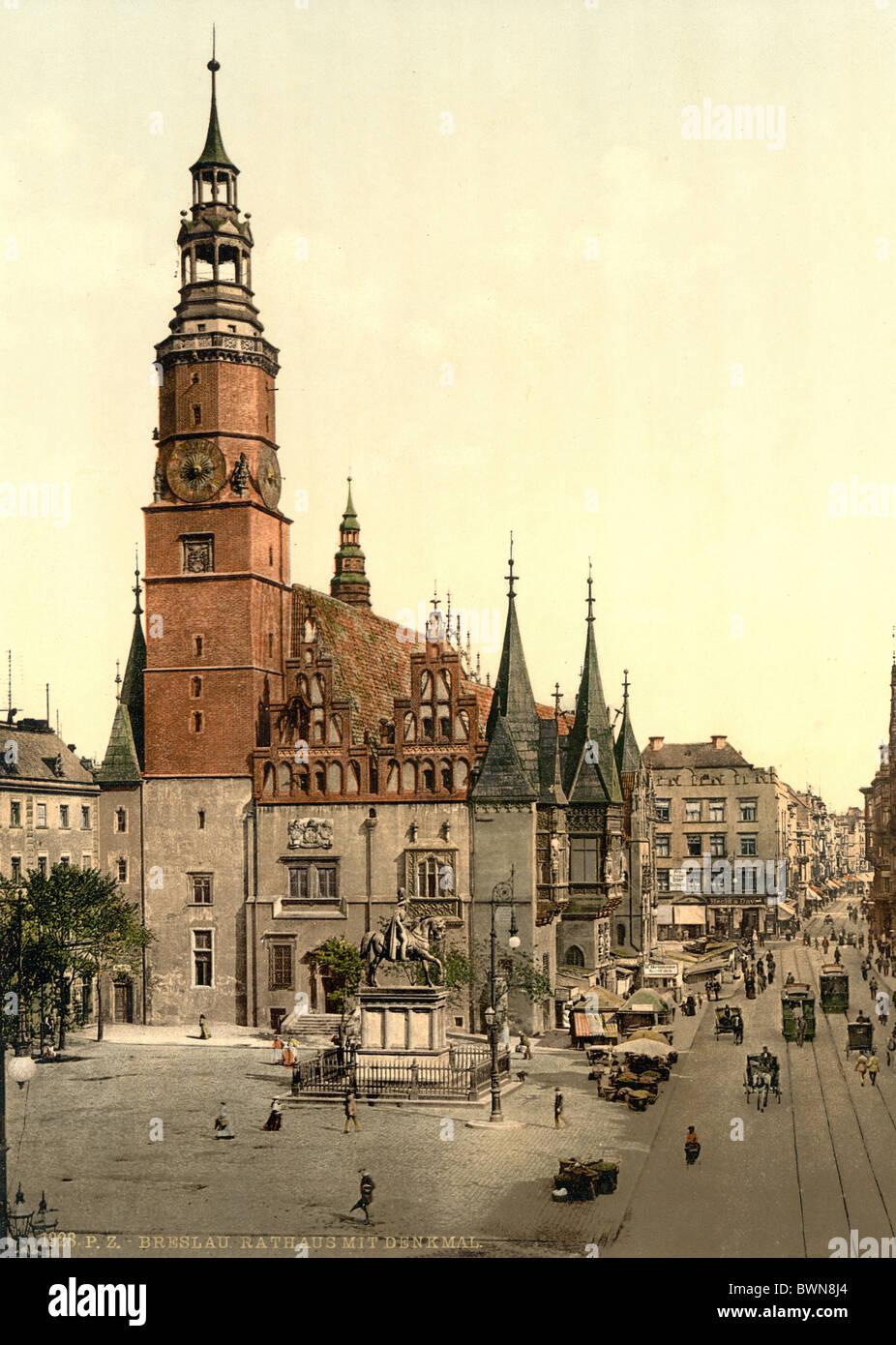 Breslavia municipio Slesia mattone architettura gotica square ex Germania Europa impero tedesco Polonia Phot Immagini Stock