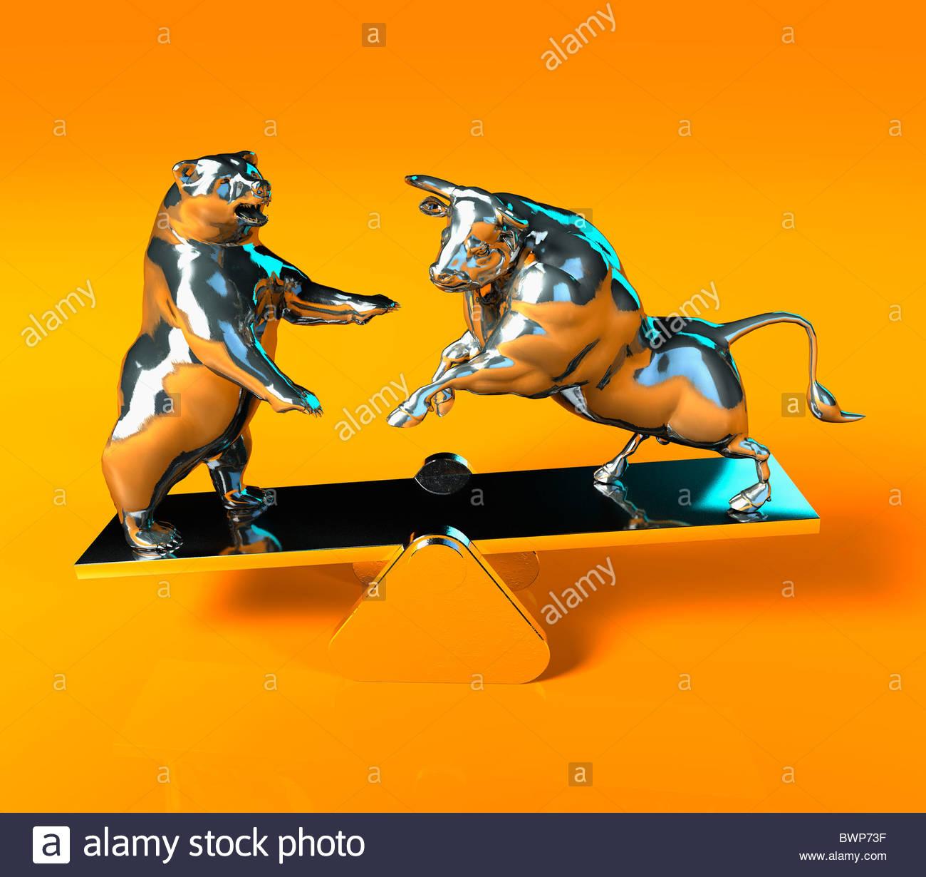 Bull e tenere in equilibrio su altalena Immagini Stock