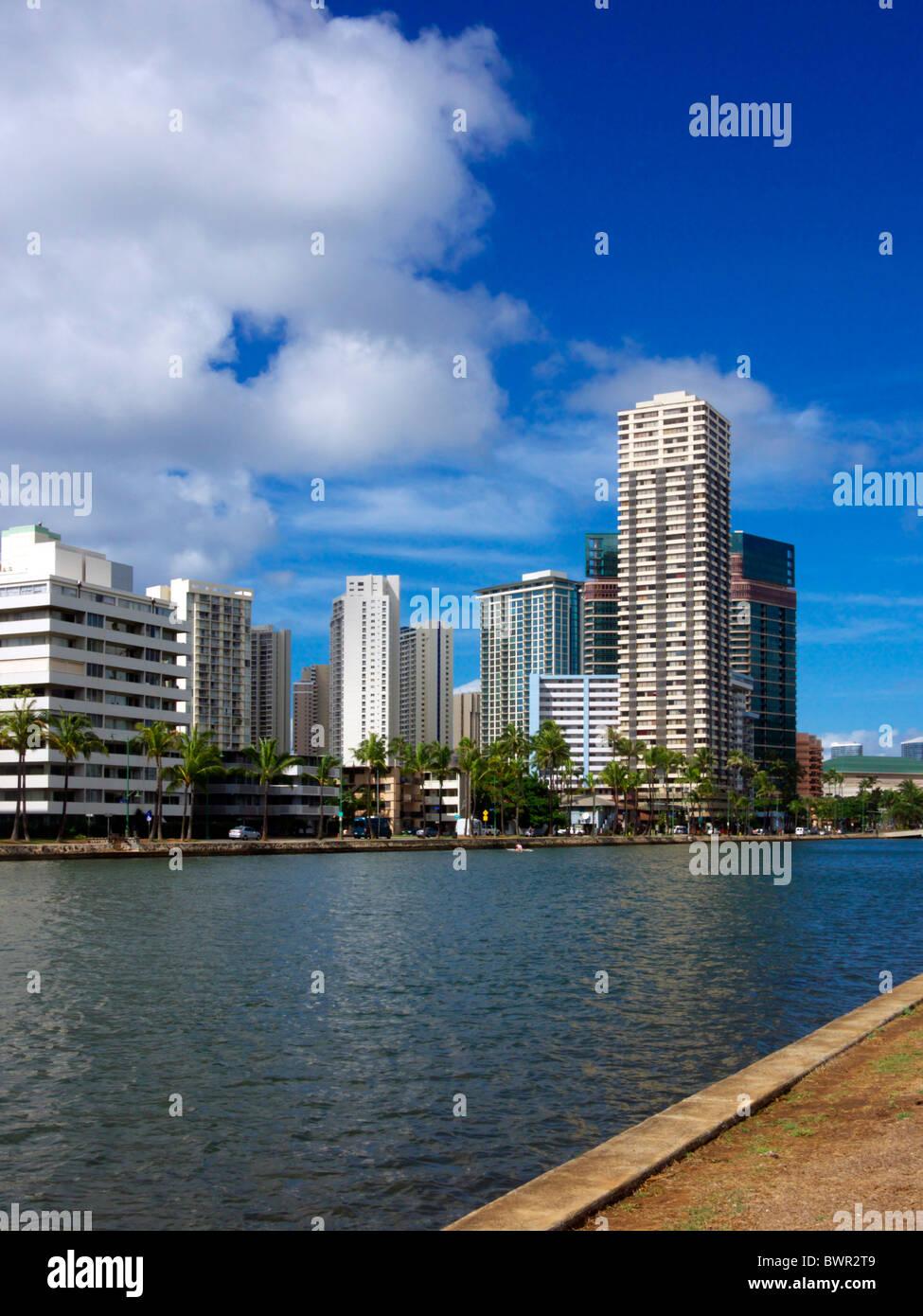 Ala Wai Canal, Honolulu Immagini Stock