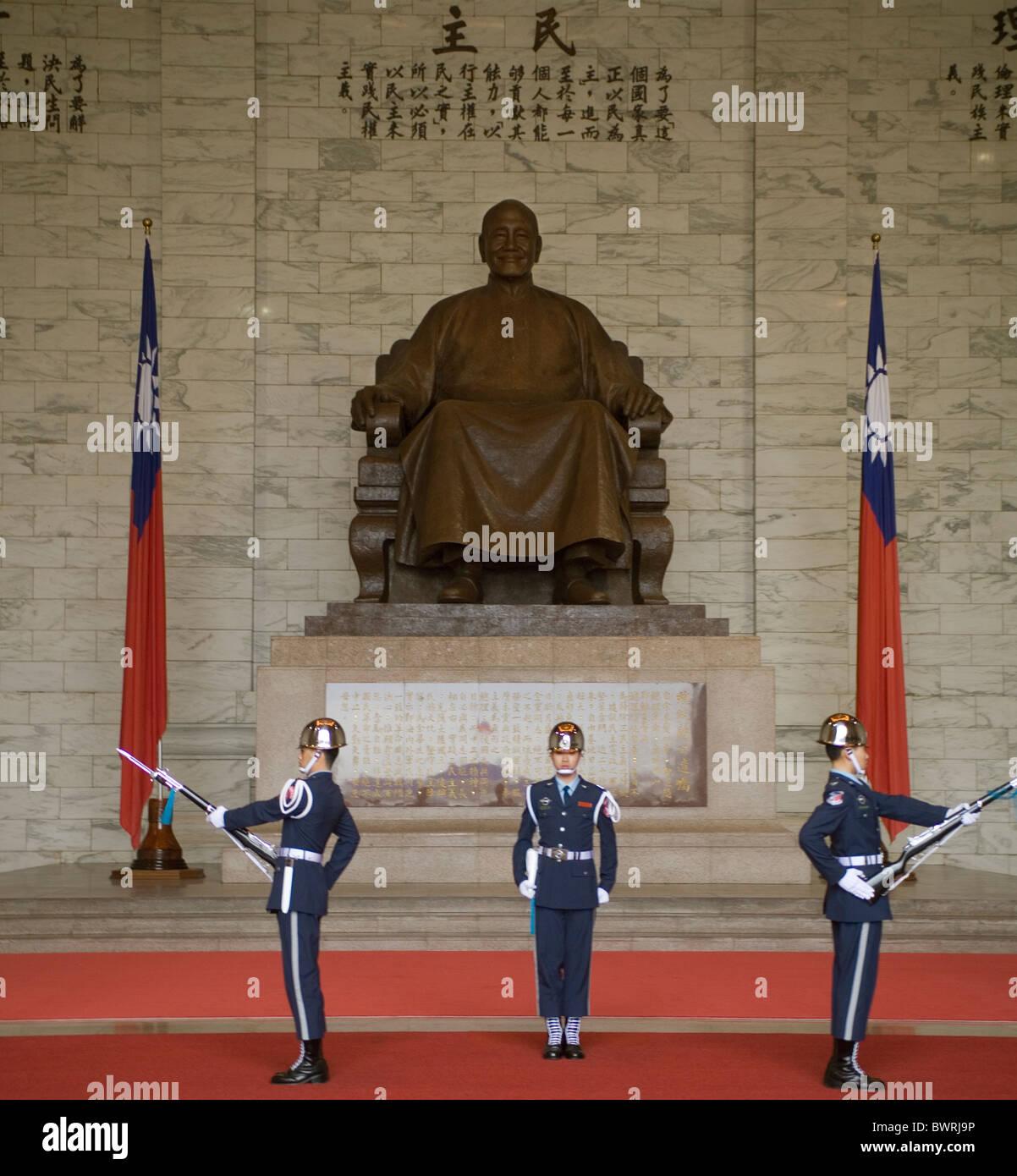 Taipei Taiwan Chiang Kai-Shek Memorial, il cambio della guardia Immagini Stock