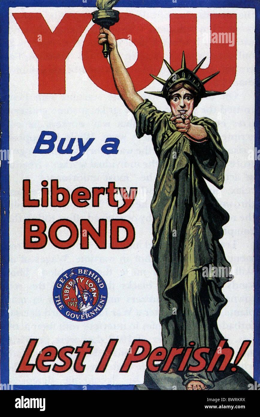 Prestito Liberty del 1917 Poster PER IL GOVERNO DEGLI STATI UNITI del legame Liberty Immagini Stock