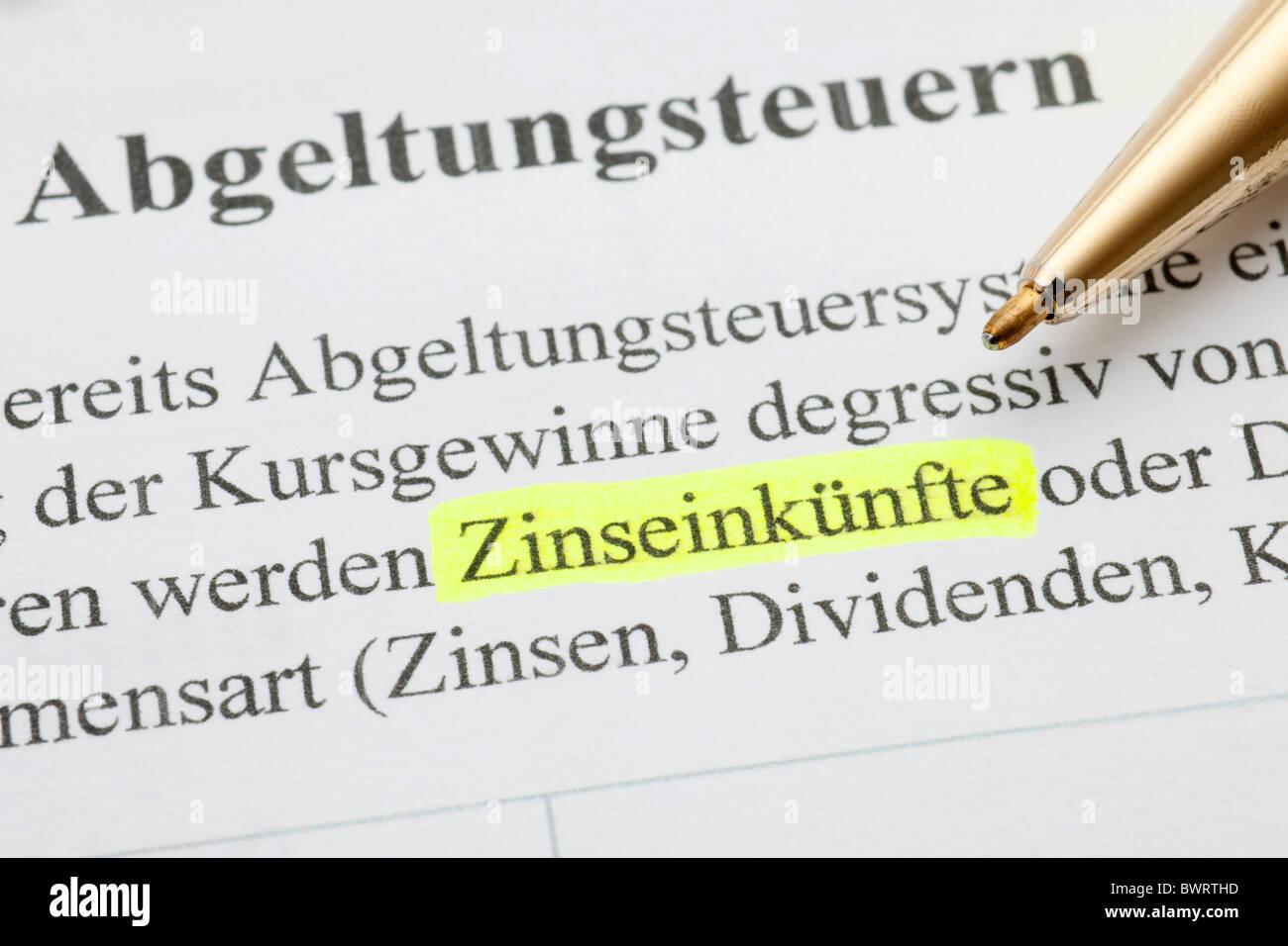 Kapitalertraege, tedesco per il reddito da interessi Immagini Stock